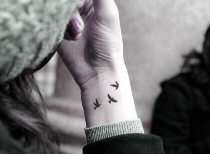 InknArt Temporary Tattoo - 3pcs Little birds swallows wrist quote tattoo body sticker fake tattoo wedding tattoo small tattoo - InknArt