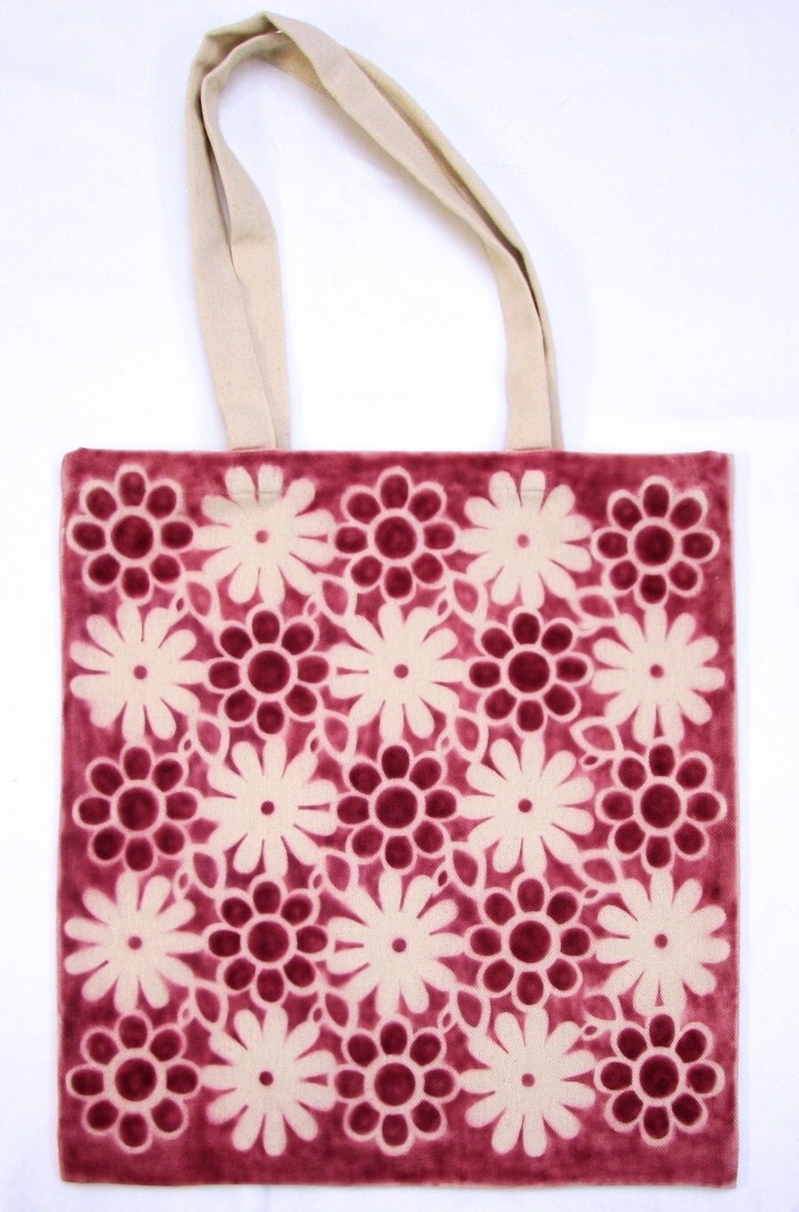 Cotton bag hand made with flowers pattern in crimson, dar red color. Natural raw cotton, market bag. - DorSilk