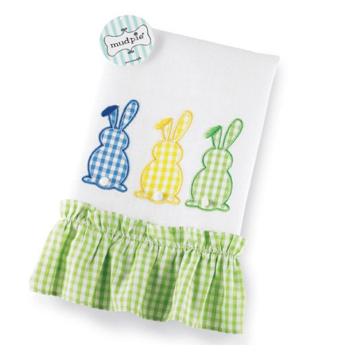 Monogrammed Decorative Bunny Linen Hand Towel By