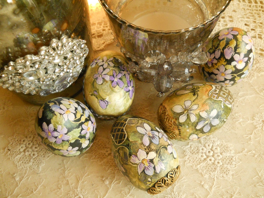 Hand painted wooden easter egg with filigree by thelambsear - Painted wooden easter eggs ...