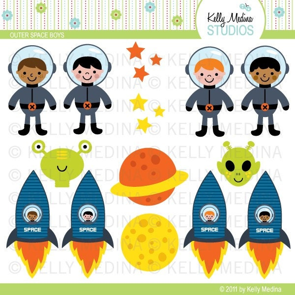 Outer space boys clip art set digital by kellymedinastudios for Outer space industrial design