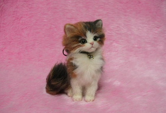 Needle Felted Fluffy Calico Kitten Miniature By