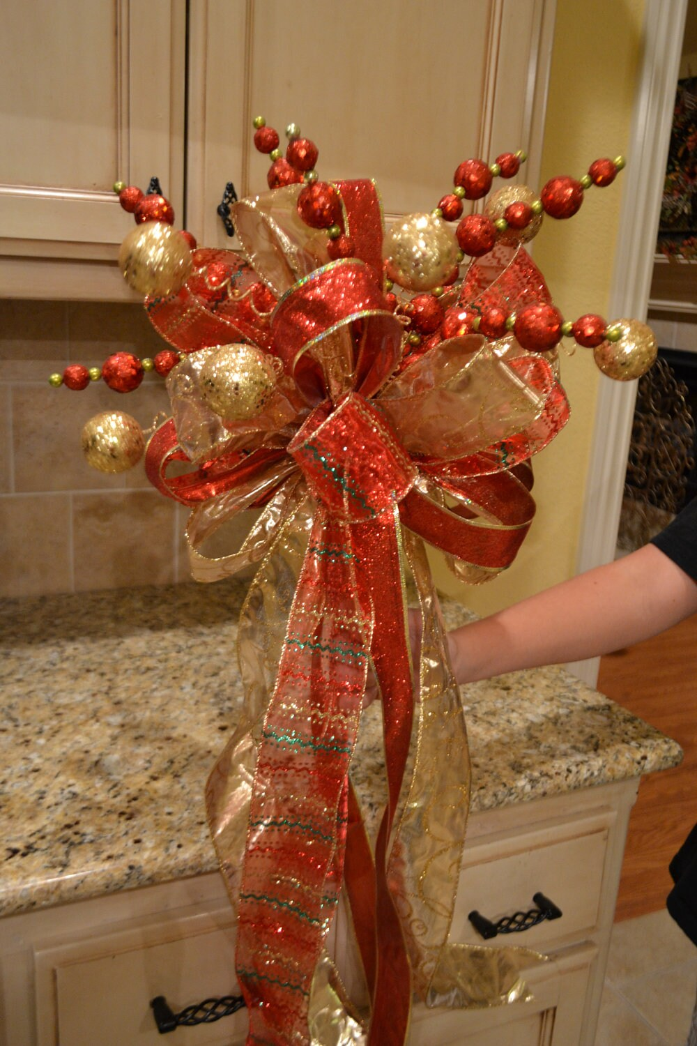 Red And Gold Ribbon Tree Topper By Kristenscreations On Etsy