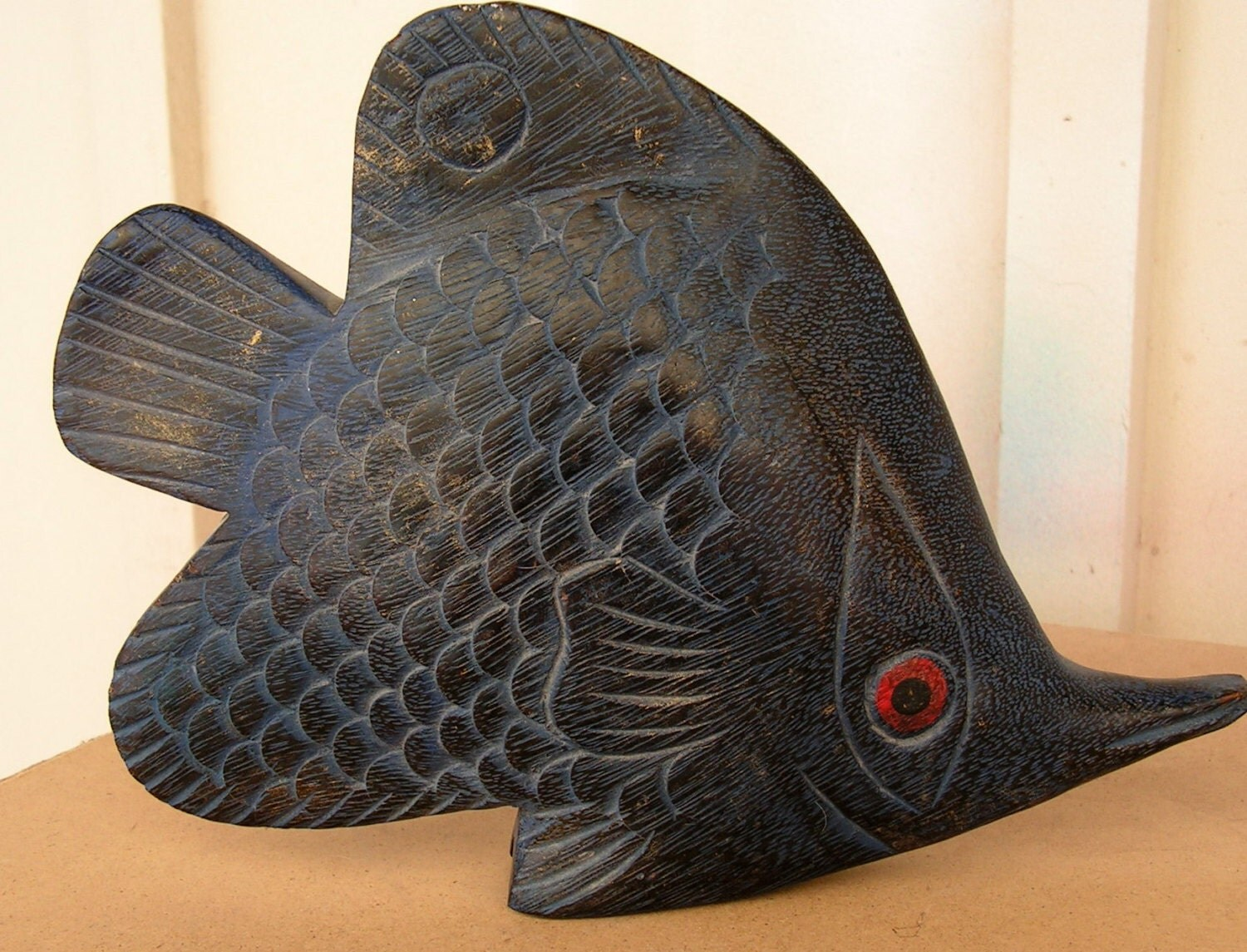 Vintage carved wooden fish decoy folk art wood by