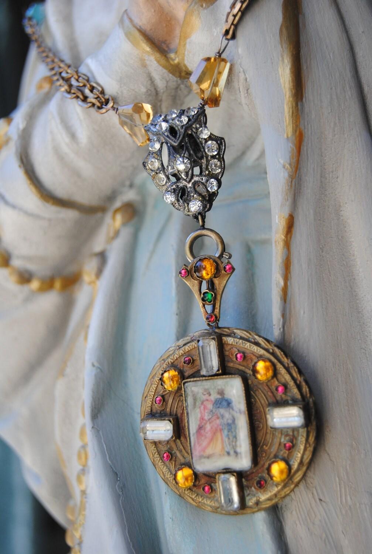 Викторианской Любовь - Vintage рук Сборка Окрашенные Портрет брошь подвеска Rhinestone Gemstone ожерелье цепь Смотреть