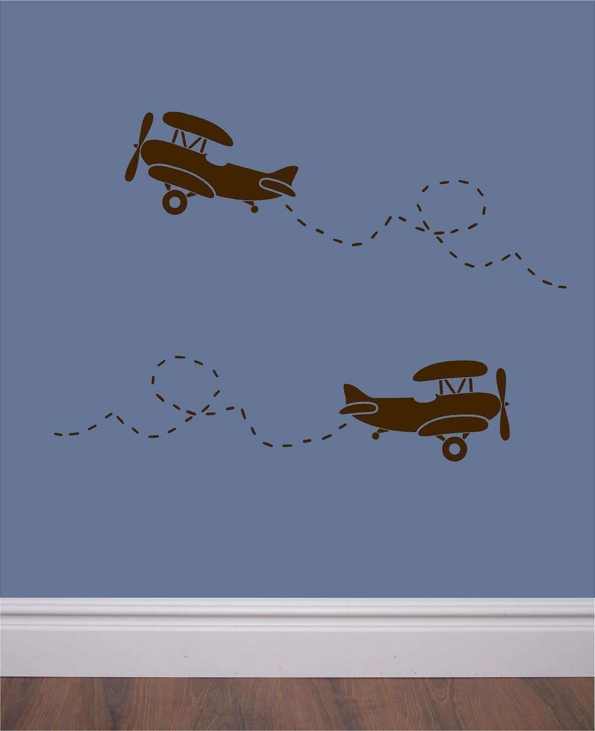 Set of 6 vinyl wall decals retro airplane by for Aeroplane wall mural