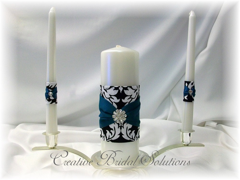 Black and White MM Damask with Teal Wedding Unity Candle SetFrom