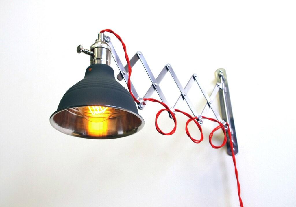 Industrial Scissor Articulating Wall Lamp Light - Fully Dimmable Light Socket - Steampunk Lamp - Mirrored Dark Gray Shop Light & Shade - LongMadeCo