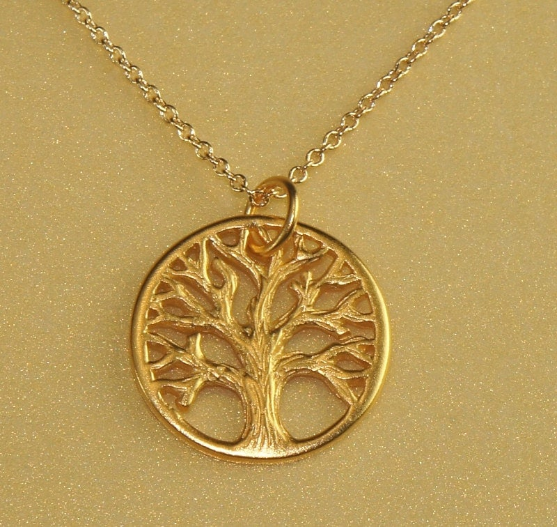 gold tree of pendant necklace by peaceandcharmjewelry