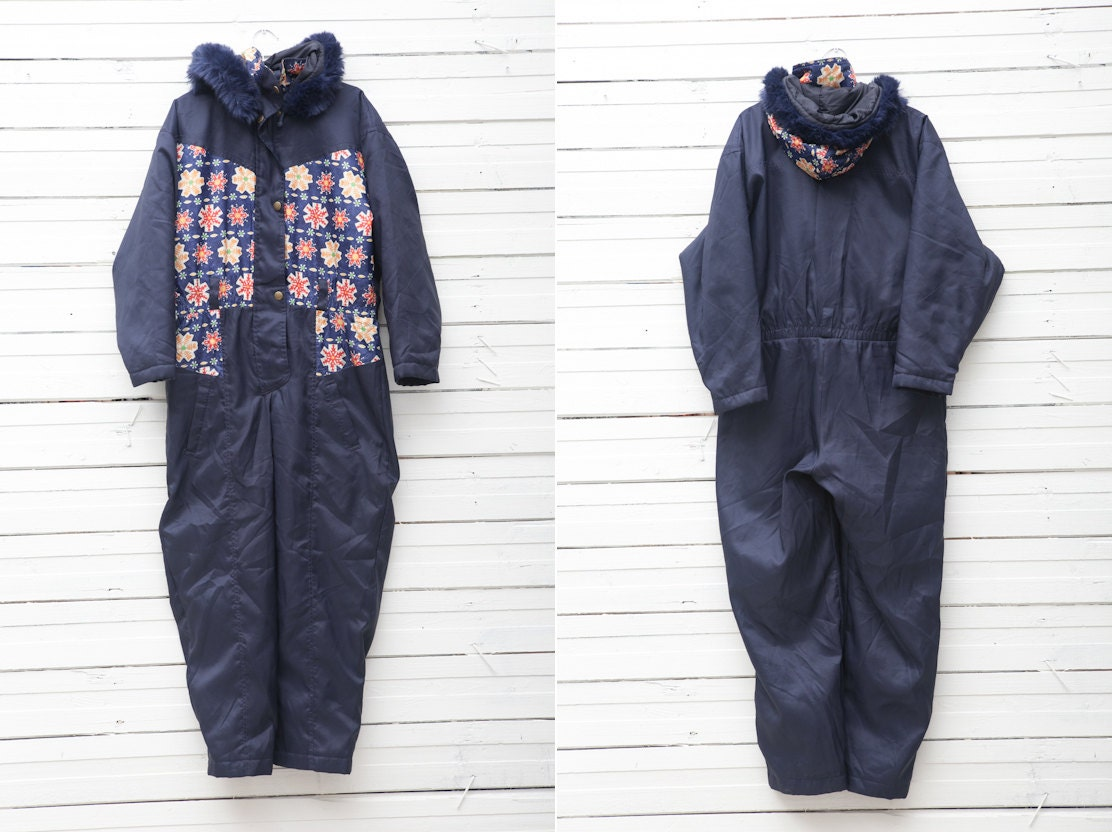 1990s Dark Blue Skirwear Onepiece Snow Suit by Skila Generation / Size