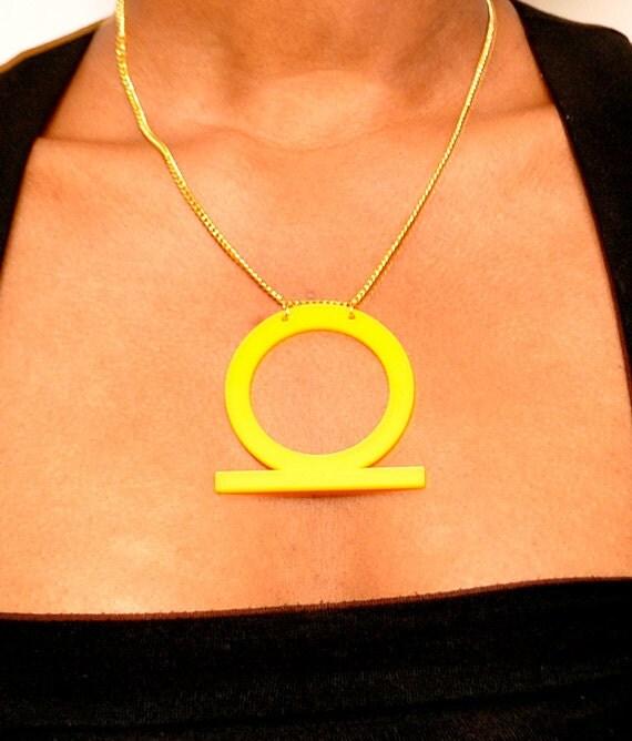 Yellow Acrylic Shenu Ring Pendant Necklace
