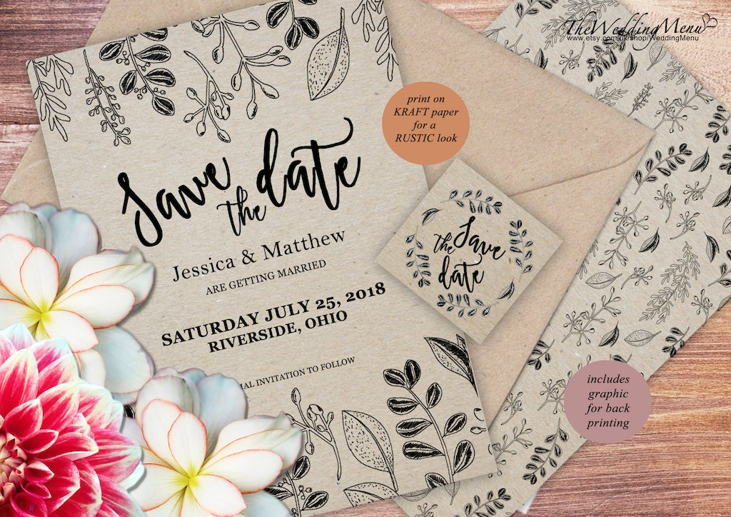 Rustic Save the Date savethedate Wedding Invitation Botanical Save the Date Template Wedding Save the Date PDF Invitation Flowers SDD06B