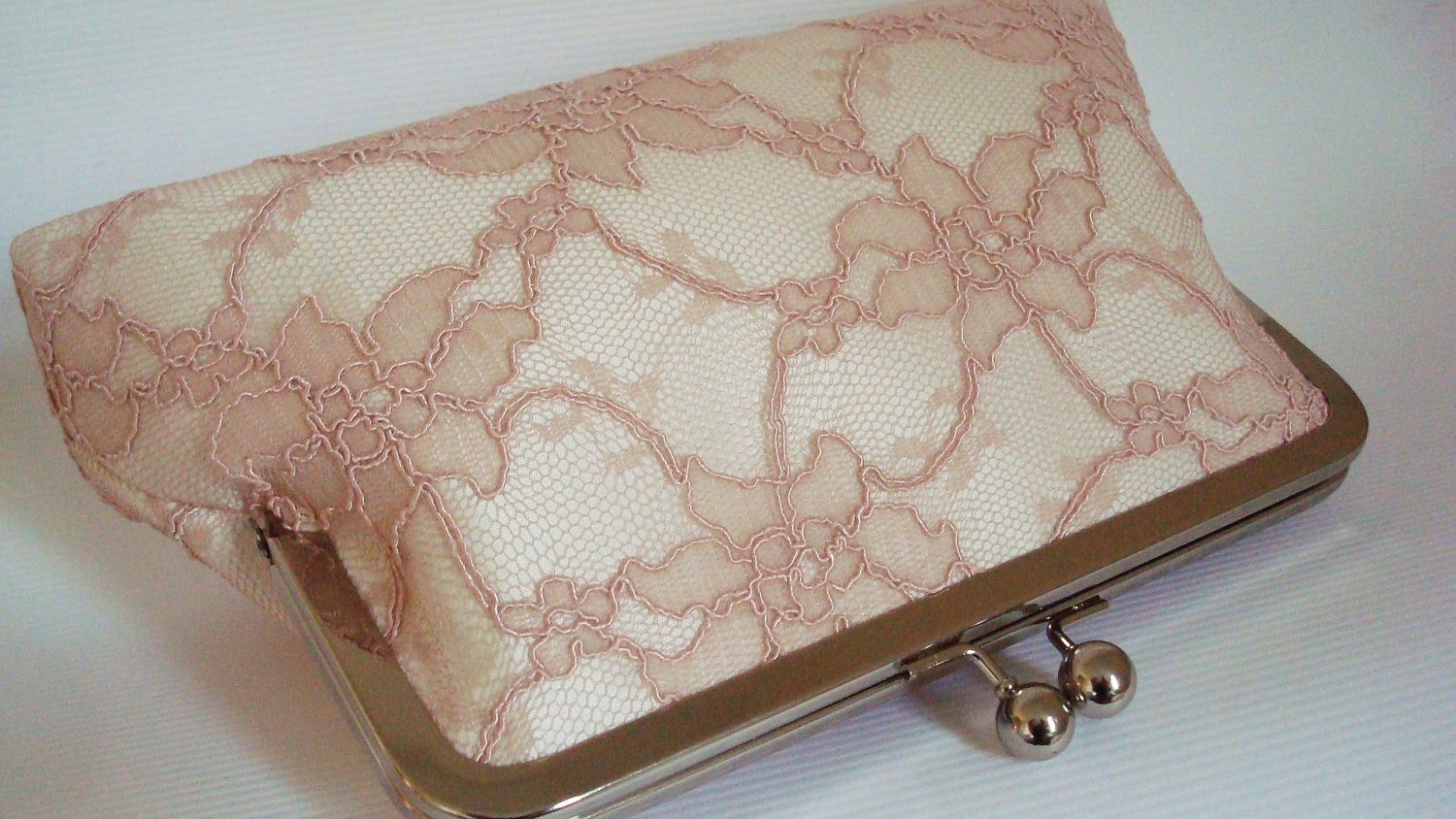 Timeless bride...dusty pink lace and ivory ... large size purse England UK Seller - AtelierEdytaLoukia