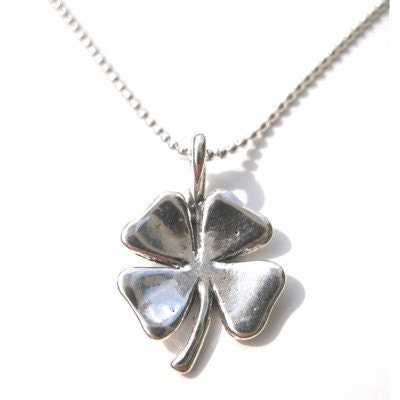 lucky four leaf clover charm necklace by indiaromeo on etsy