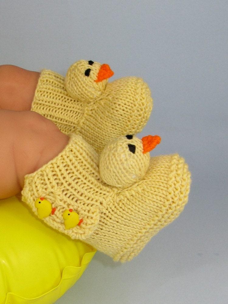 Baby Chick Booties Knitting Pattern : Digital pdf file Knitting Pattern Baby Chick by madmonkeyknits