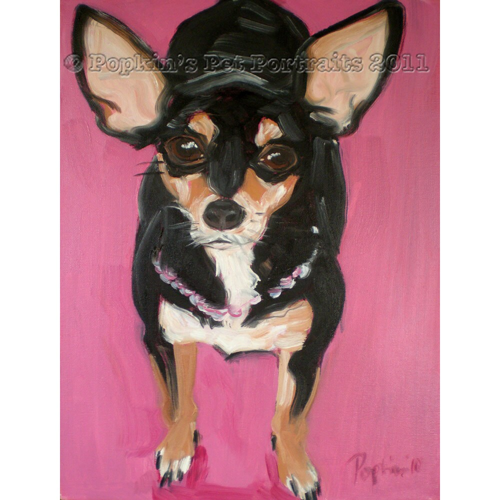 Chihuahua pet portrait pink in pearls Signed archival Giclee Print 8x10