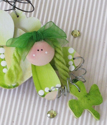 Cute Christmas Irish Ornament Angel - Emerald Green Angel ornament - FromNancysHeart
