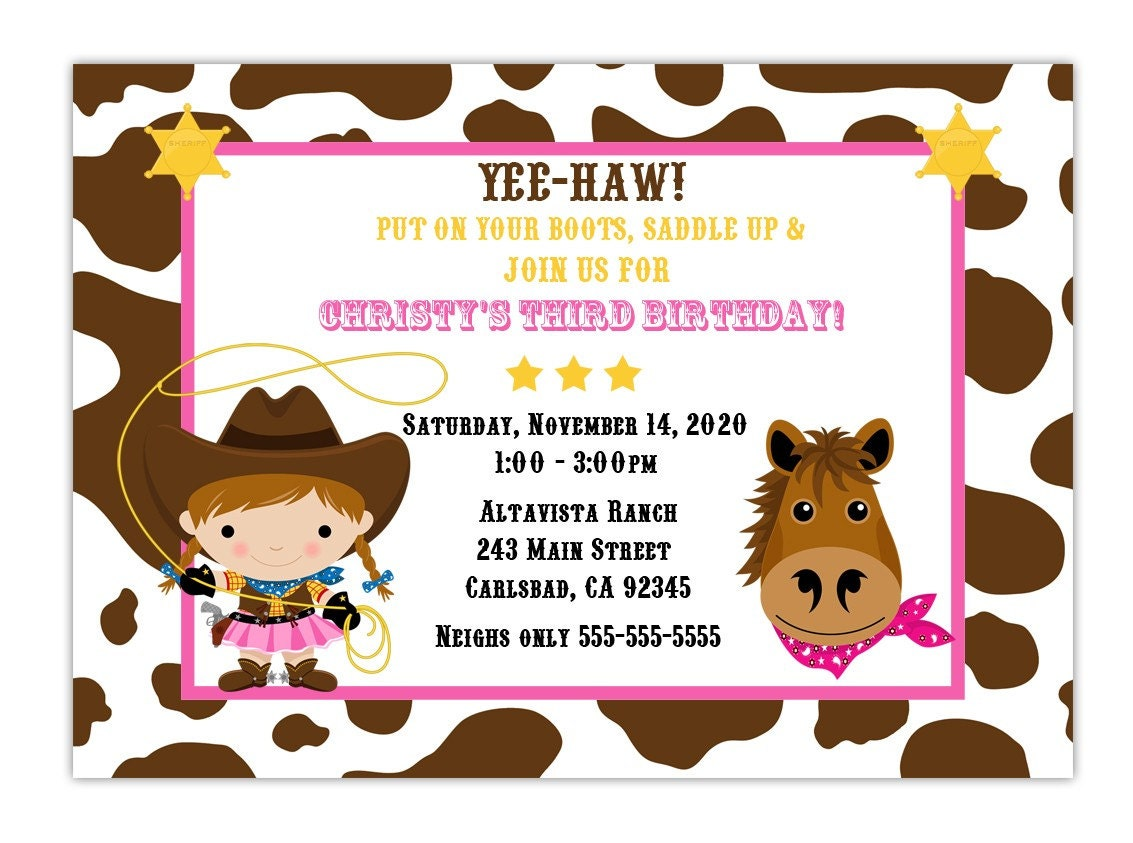 Custom Cowgirl Birthday Party Invitation Choose by CherishedTimes