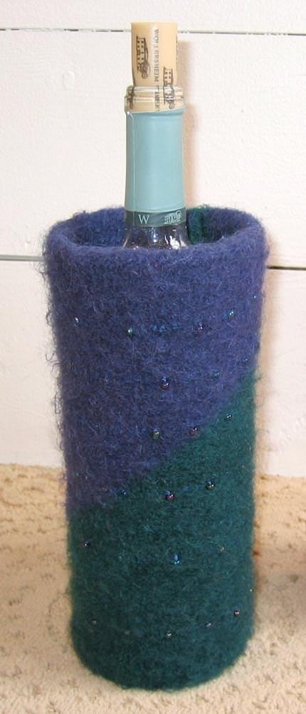 Felted Wine Bottle Cozy Knitting Pattern PDF by FiberWild on Etsy