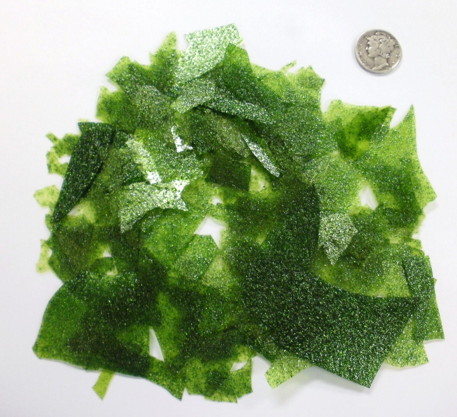 Bullseye Light Aventurine Green Sparkle Confetti Glass Chips for Fusing - missourijewel