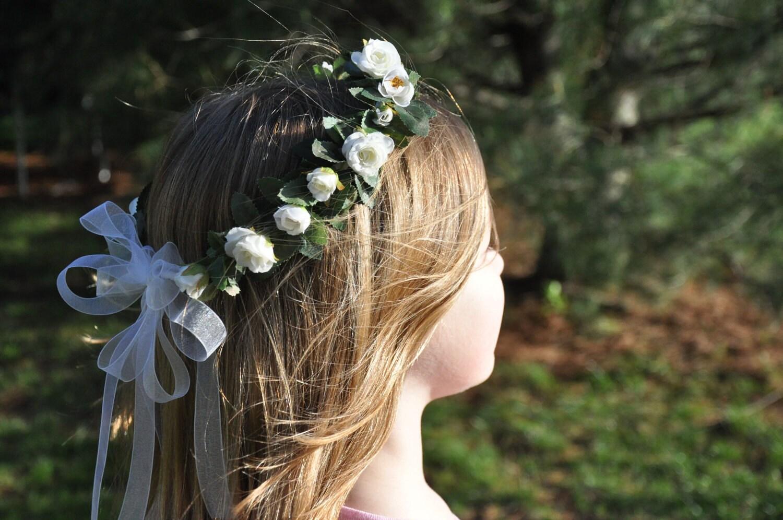 Wedding Flowers Flower Girl Hair Wreath by Hollysflowershoppe