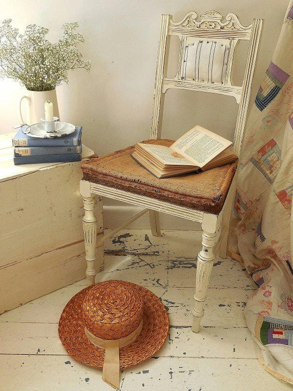 Antique painted deconstructed chair. Bedroom hall dining