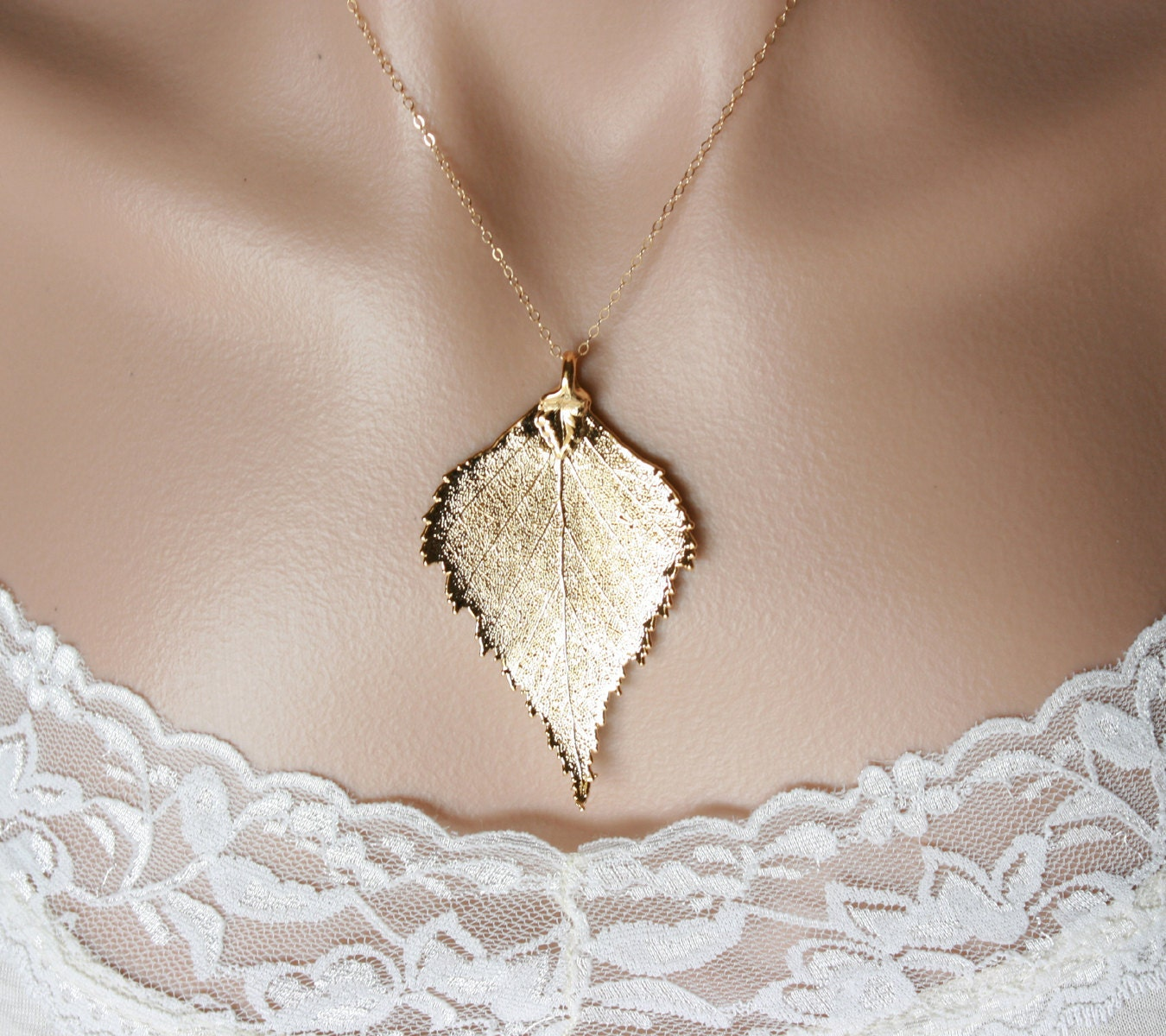 Gold dipped birch leaf necklace - gold filled chain - fall wedding jewelry, bridal jewelry, bridesmaids gifts, everyday jewelry