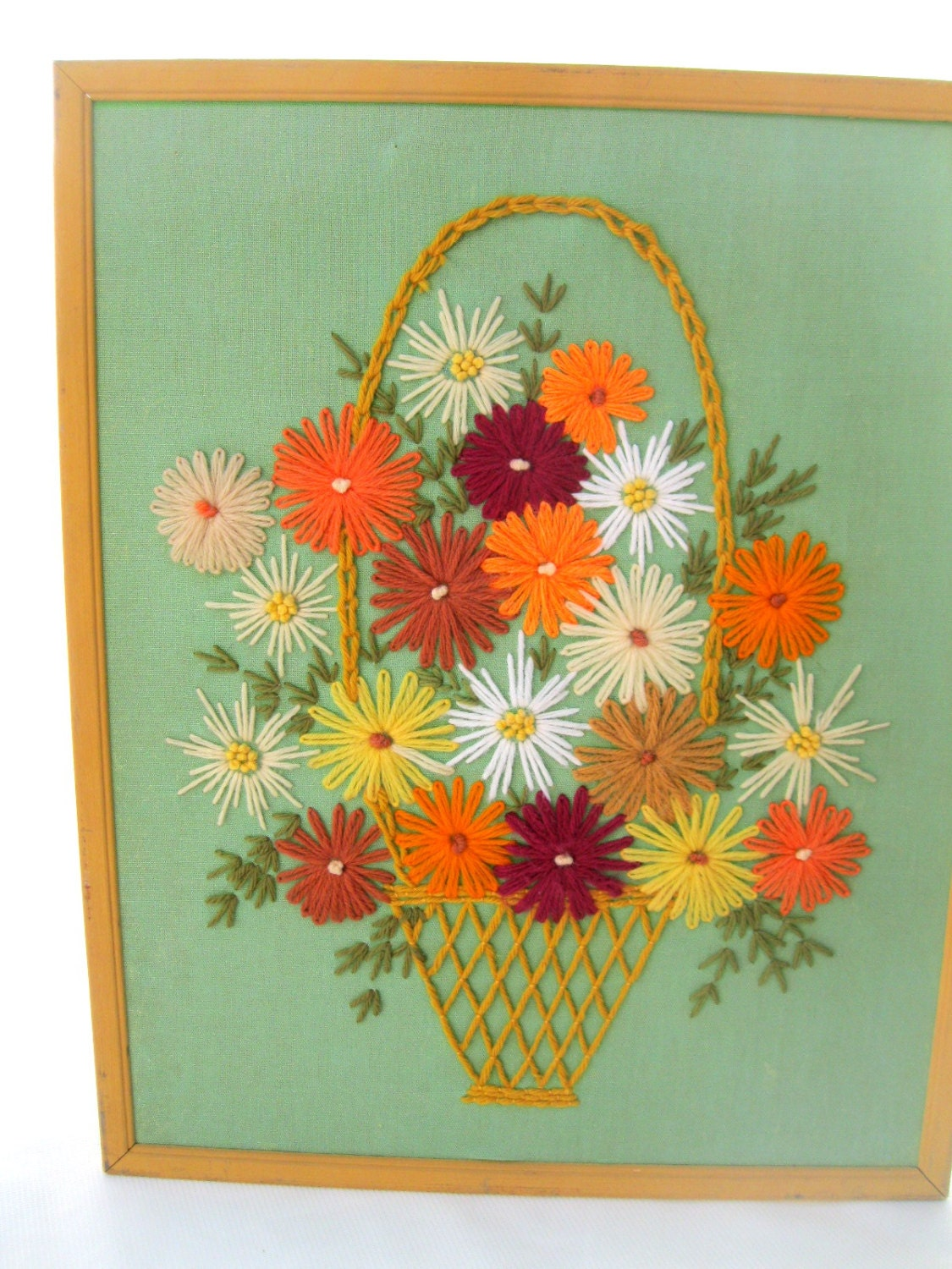 Vintage 60's Embroidery Crewel Orange Yellow Green Picture-Flower Basket from Tessiemay