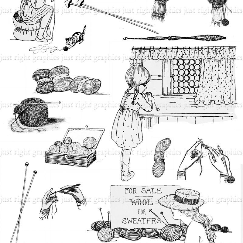 Vintage Knitting Clipart : Crochet knitting digital collage sheet by justrightgraphics