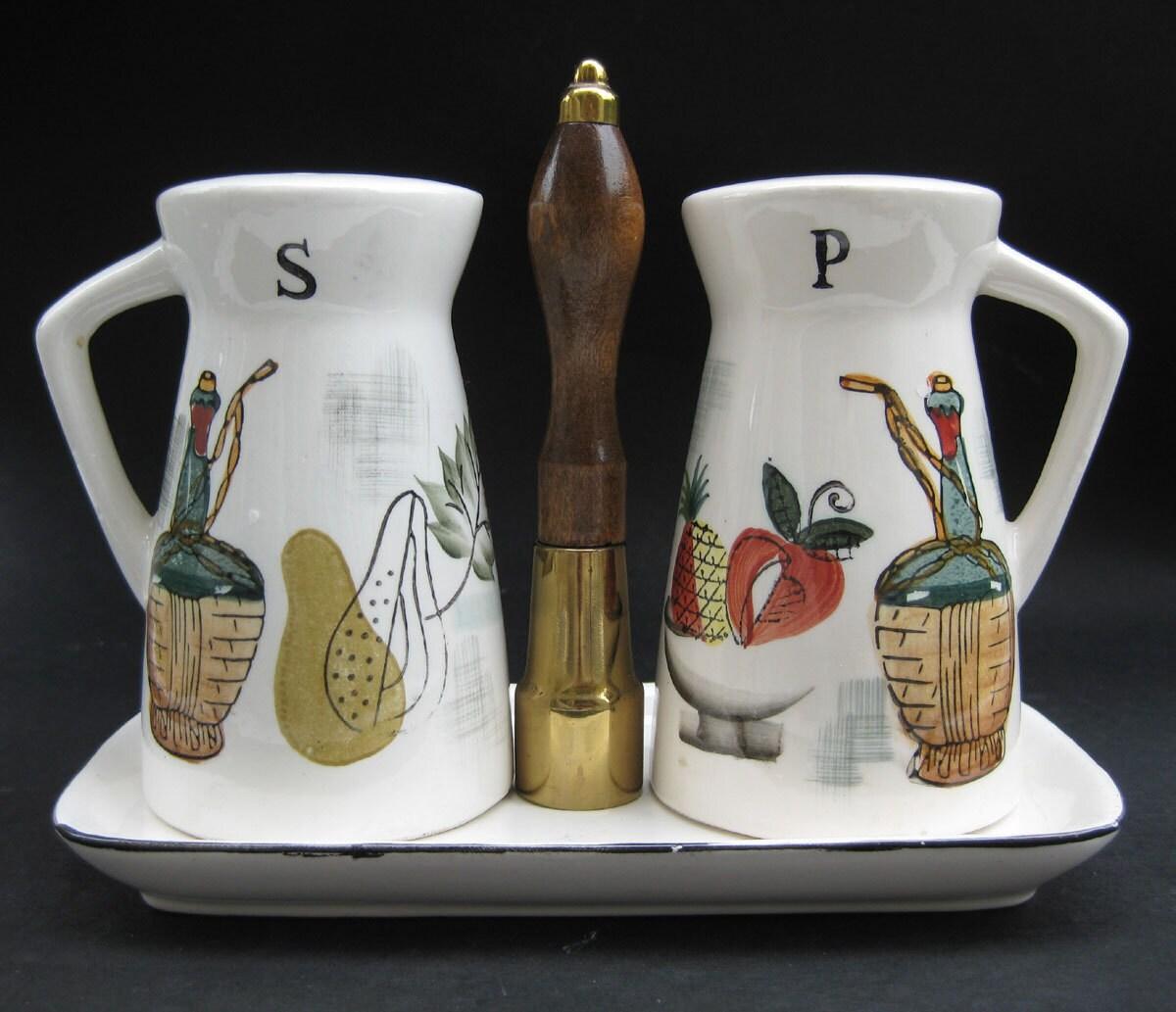 Eames Vintage 50s Salt Pepper Shaker Set By Aquamarinedream