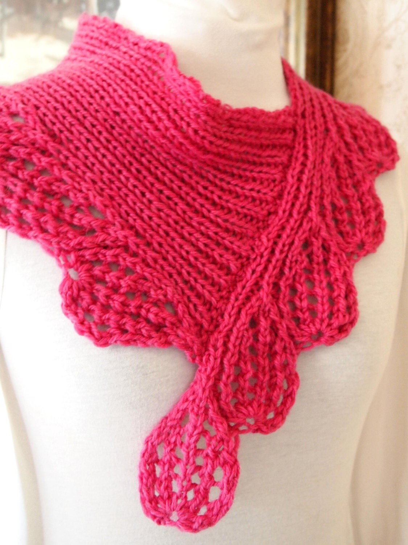 Hand Knitting Pattern : knitting pattern lace knit cowl scarf pdf by KnitChicGrace on Etsy