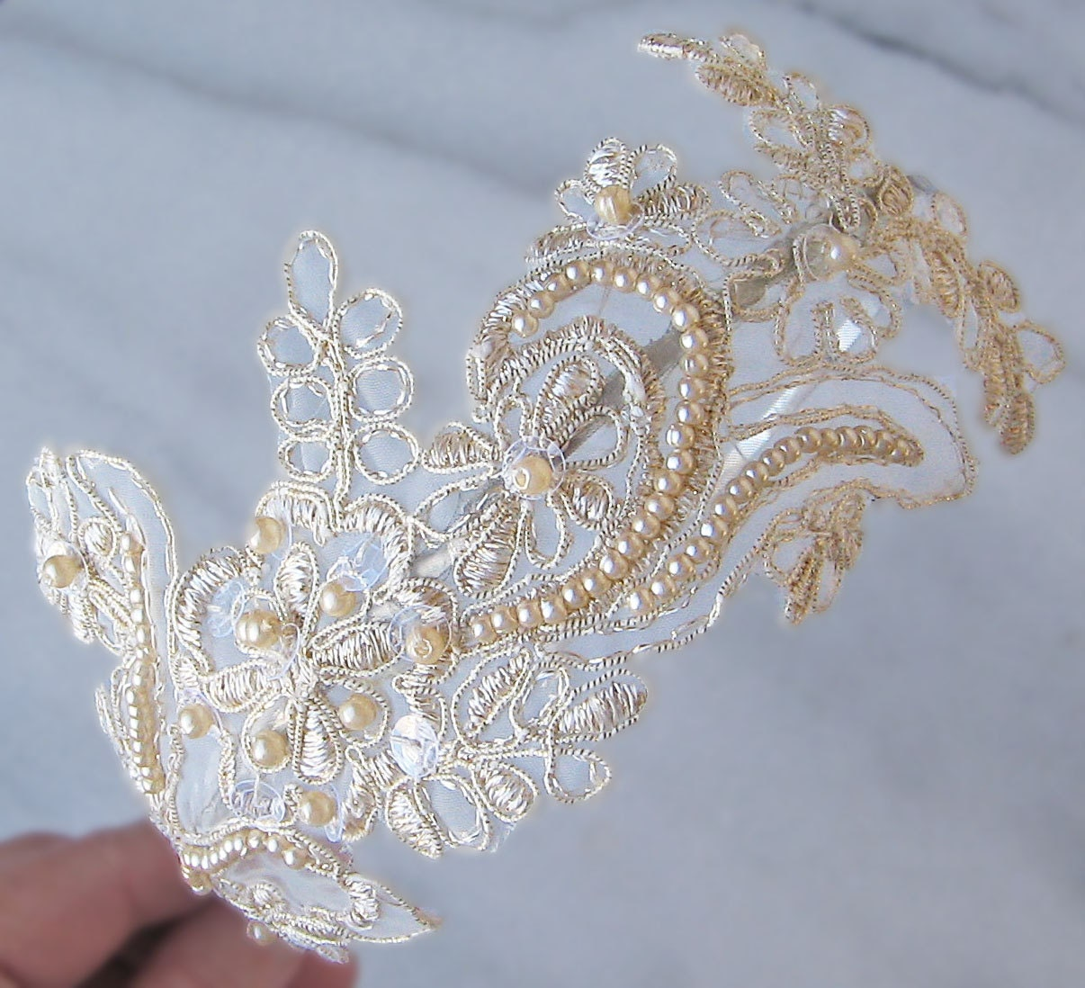 Champagne Lace Headband Bridal Headband Pearl By TheRedMagnolia