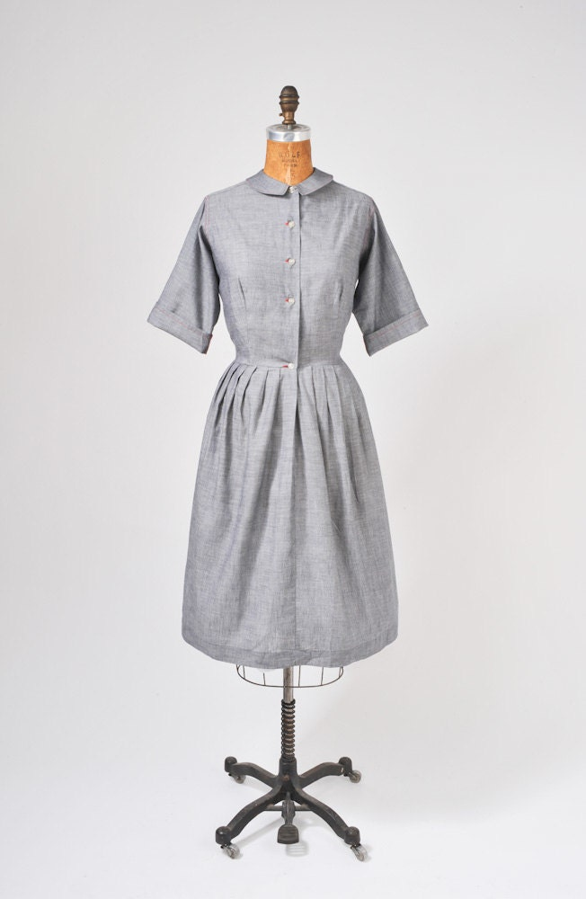 1950's Gray Shirt Dress - Red Trim - Secretary - School Teacher - NWT - missfarfalla