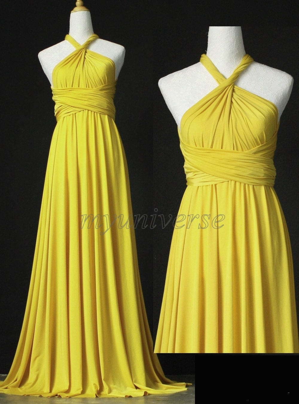 Bridesmaid Dress Yellow Daffodil We dding Dress Wrap Gown Dress