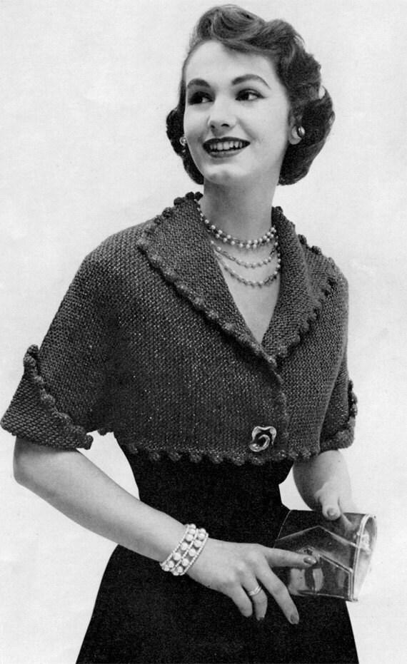 1950s Bolero Jacket Vintage Knitting Pattern by nostalgiarules