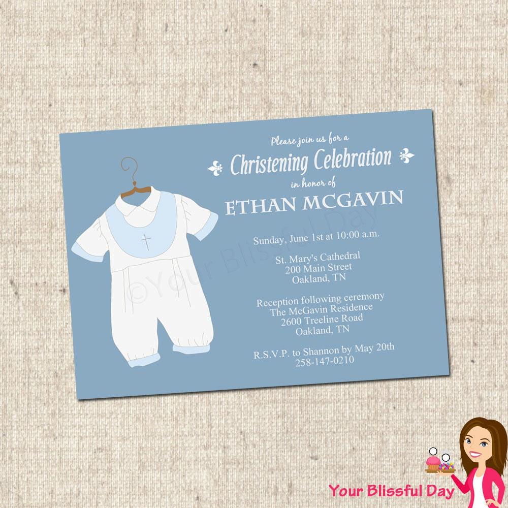 Printable baby boy christening baptism party invitations by your