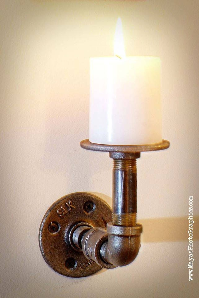 Industrial Candle Wall Sconces : Items similar to Industrial Pipe wall mount Candle holder on Etsy