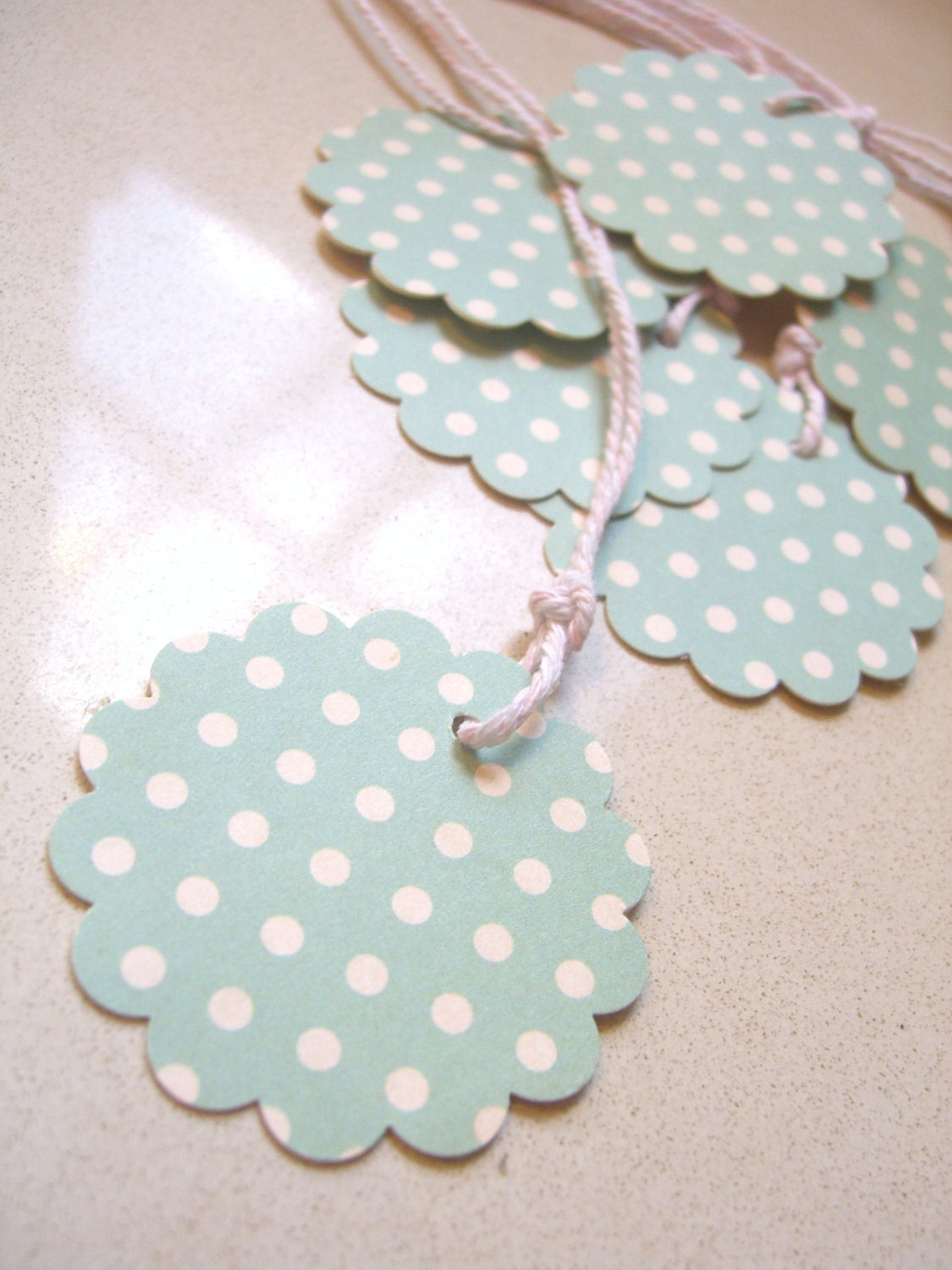 Scalloped Gift Tag - Vintage teal