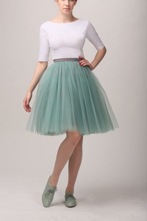 Grey&mint tutu tulle skirt for adults, petticoat, adult tulle skirt , mint tutu skirt - Fanfaronada