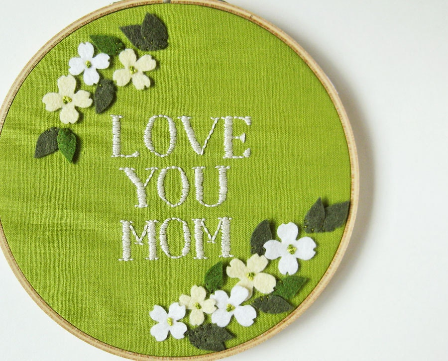 Mother's Day Embroidery Hoop - dogwood on green linen - oktak