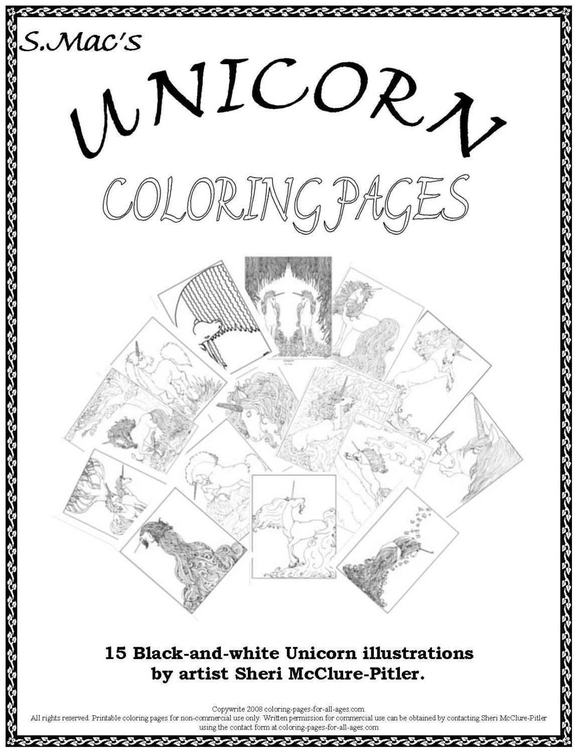 Adult Coloring Book, Unicorn Coloring Pages, intricate, printable, download, ...