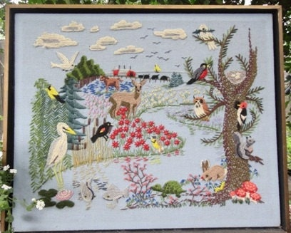 Vintage Needlework Embroidery Field and Stream Scene