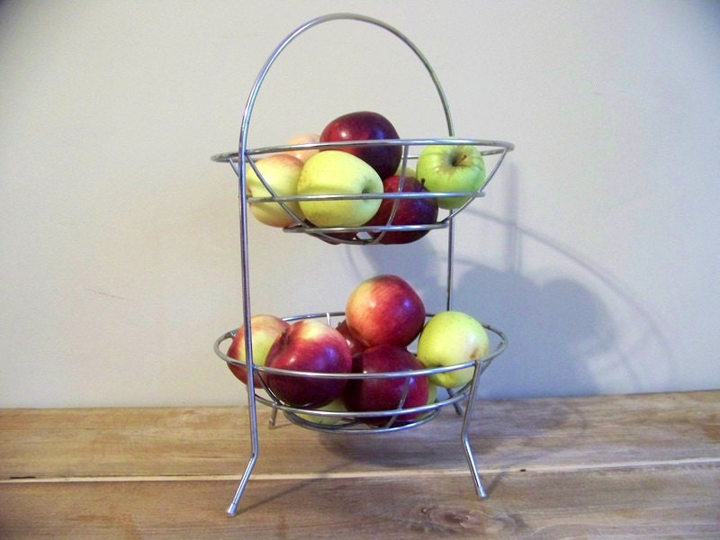 Vintage metal fruit basket wire stand fruit bowl by jennilyons81 - Tiered fruit bowl ...