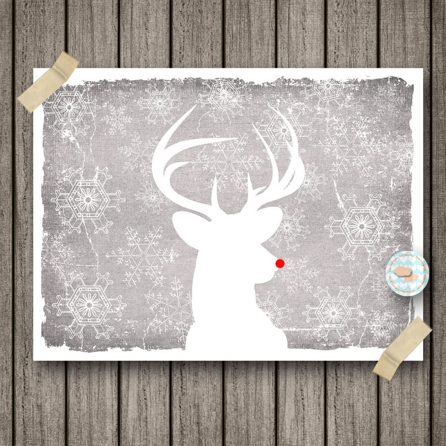 Winter White Deer Head Rudolph Art Print Grey with White Snowflakes Christmas Art  (6AOWD24A) 9x12 print - OrangeWillowDesigns