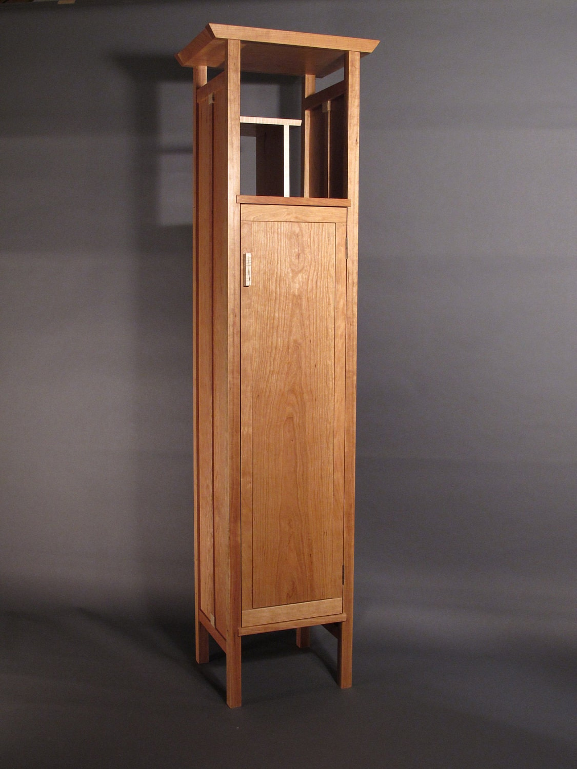 Kitchen armoire pantry - Tall Narrow Armoire Cabinet In Cherry By Mokuzaifurniture On Etsy