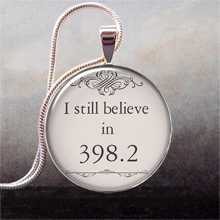 I still believe in 398.2 fairy tale necklace charm, book pendant, book jewelry, book jewellery