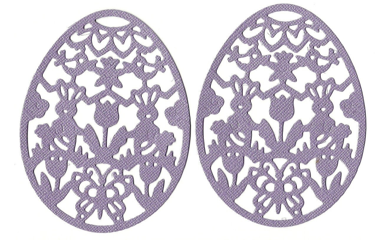 Lot of 2 Cottage Cutz Purple Filigree Easter Egg Die Cuts