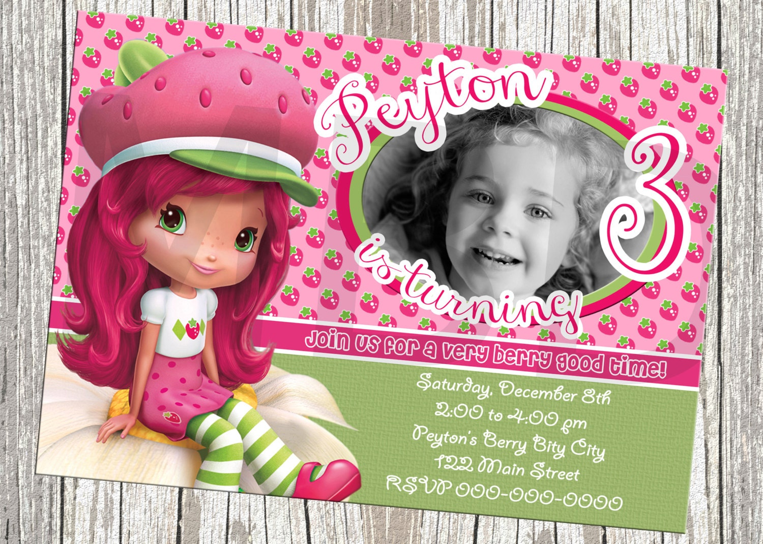 Strawberry Shortcake Birthday Invitations and get inspiration to create nice invitation ideas
