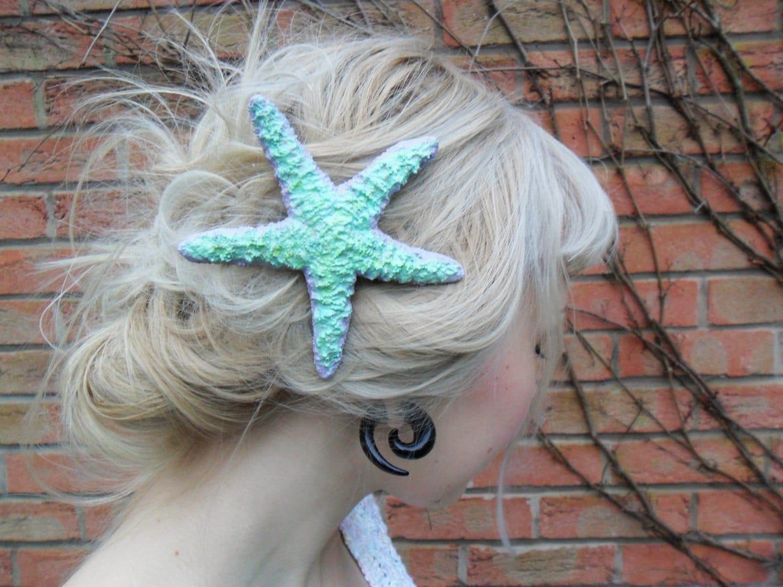 Cute Pastel Mermaid Starfish Hair Barrette Clip - Hoodratroughdiamond
