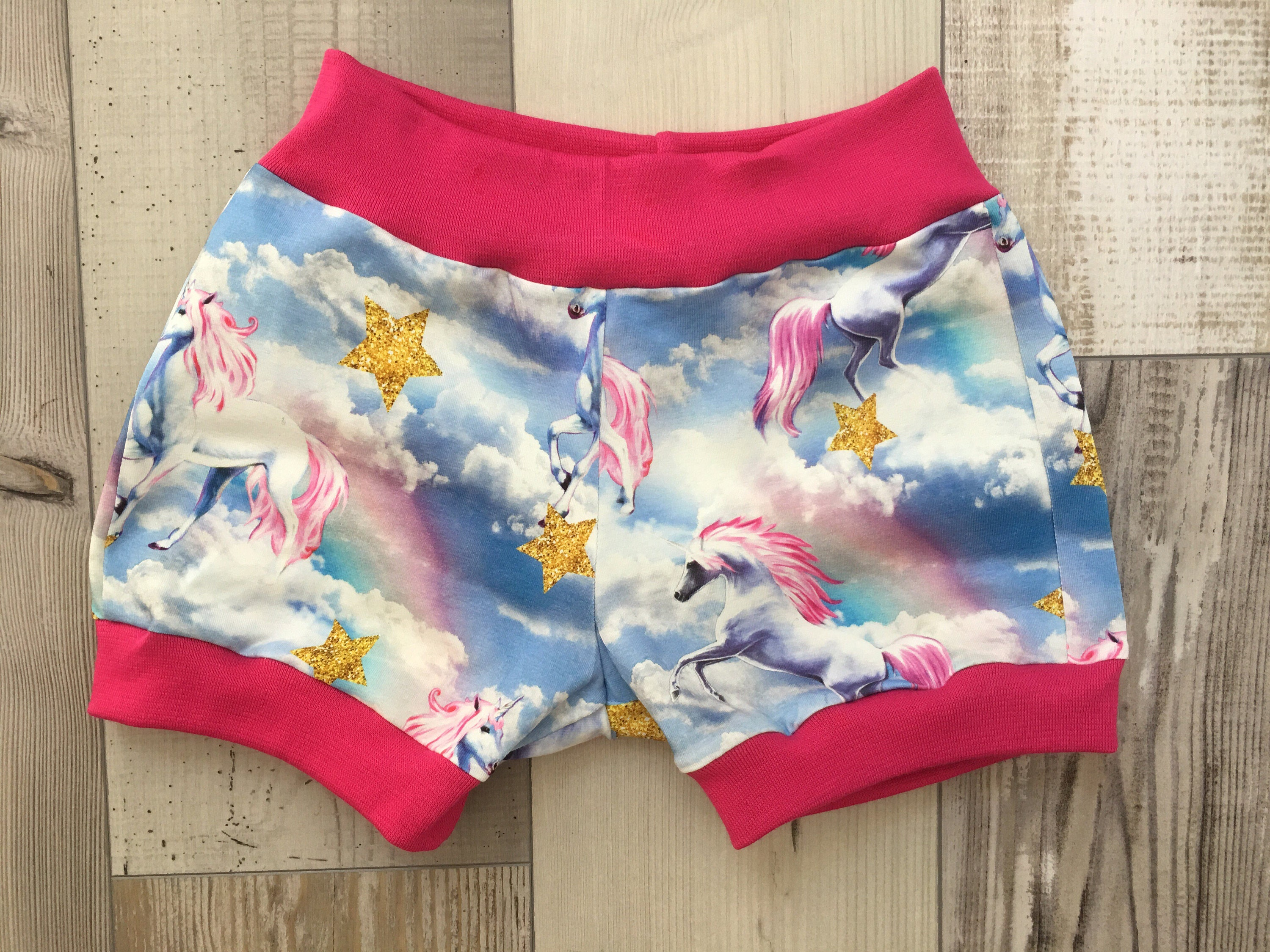 Blue unicorn shorts colourful shorts made to order cotton jersey shorts bloomers baby clothes girls clothing girls unicorn shorts